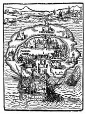 Titelholzschnitt aus Thomas Morus' Roman Utopia, 1516