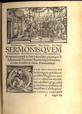 Page from 1518 Utopia, showing Hythloday, More, Giles and Clemens