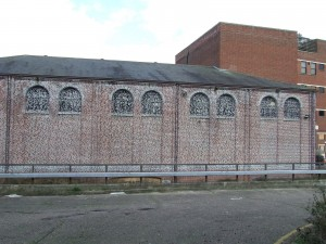 The words of Utopia painted on a disused Eastern Electricity building in Norwich England in 2009