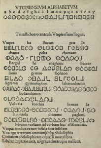 Utopian alphabet from first edition, 1516