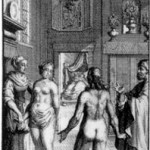 """""""How engagements are made in Utopia."""" Illustration by F. van Bleyswyck for Leyden edition, 1715"""