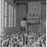 """How thirty Utopian families eat in each refectory."" Illustration by F. van Bleyswyck for Leyden edition, 1715"