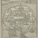 Woodcut map of Utopia from 1516 edition